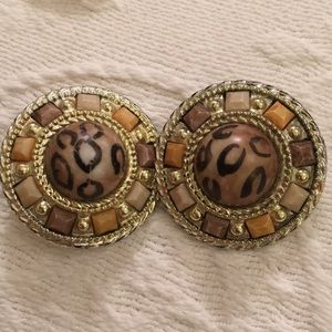 Huge two inch animal print 70s vintage earrings